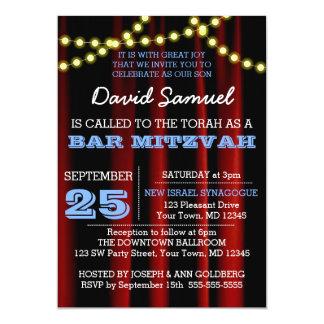 Movie Lights Blue Bar Mitzvah Invitation