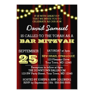 Movie Lights Yellow Bar Mitzvah Invitation