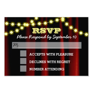 Movie Lights Yellow Bar Mitzvah RSVP Card 9 Cm X 13 Cm Invitation Card