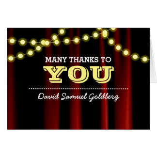 Movie Lights Yellow Bar Mitzvah Thank You Note Card
