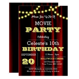 Movie Lights Yellow Birthday Invitation
