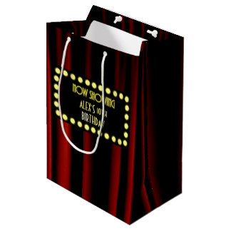 Movie Marquee Velvet Curtain Personalized Gift Bag