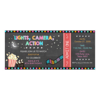 Movie Night Birthday Invitation Movie ticket Party