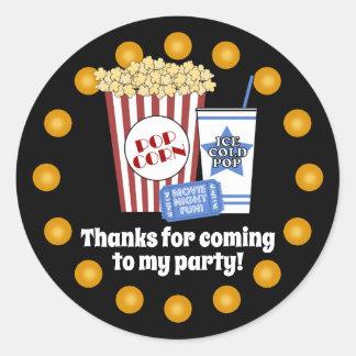 Movie Night Birthday Party Classic Round Sticker