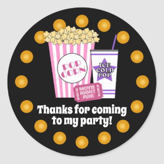 Movie Night Birthday Party Classic Round Sticker