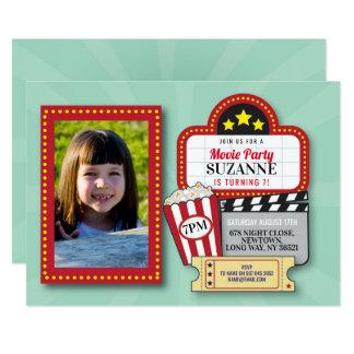 Movie Night Birthday Party Mint Film Cinema Photo Card