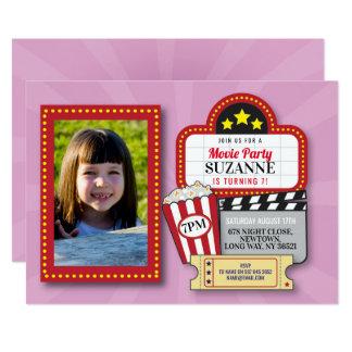 Movie Night Birthday Party Pink Film Cinema Photo Card