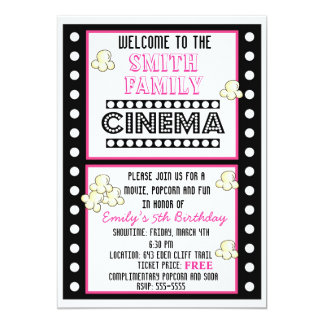 "Movie Night Film Strip Popcorn Birthday Invitation 5"" X 7"" Invitation Card"