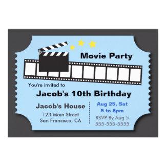 Movie Night Party Birthday Party Custom Invites