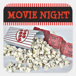 Movie Night Popcorn Birthday Party Stickers