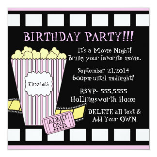 Movie Night Popcorn Film Strip Party In Pink Card
