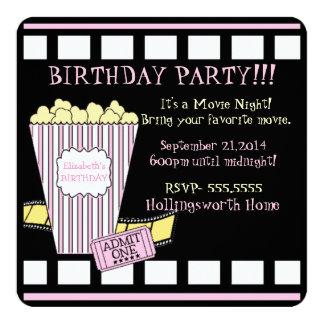 Movie Night Popcorn Film Strip Pink Girls Party Card