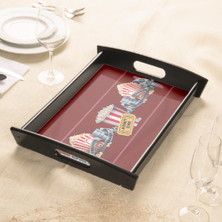 Movie Night Popcorn Red Serving Tray