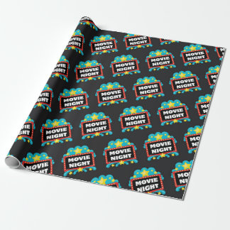 Movie night sign pattern wrapping paper