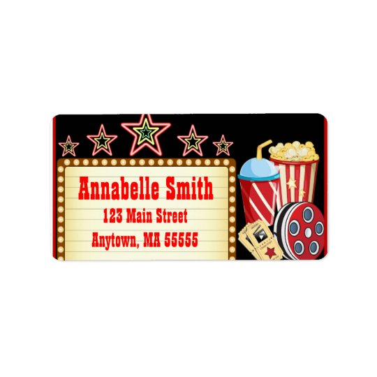 Movie Night Theatre Birthday Party Address Labels