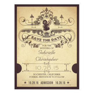 Movie or cinema save the date admission tickets postcard