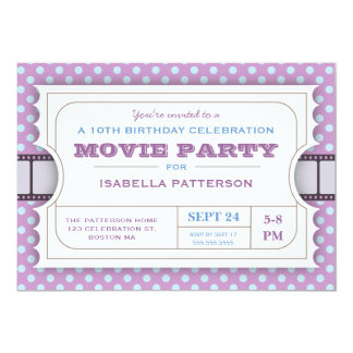 Movie Party Birthday Party Admission Ticket Purple Card