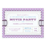 Movie Party Birthday Party Admission Ticket Purple Personalized Announcement