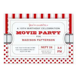 Movie Party Birthday Party Admission Ticket | Red 13 Cm X 18 Cm Invitation Card