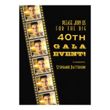 Movie Premiere Celebrity 40th Birthday Photo Gala Custom Invitation