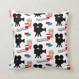 Movie reel popcorn pattern theater decor pillow