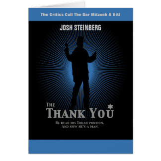 Movie Star Bar Mitzvah in Black Blue Thank You Note Card