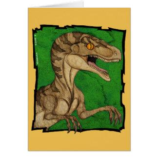 Movie style vintage velociraptor card