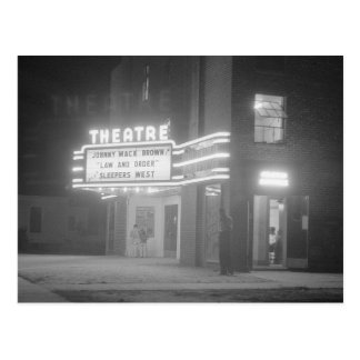 Movie Theater at Night, 1941 Postcard