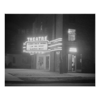 Movie Theater at Night, 1941. Vintage Photo Poster