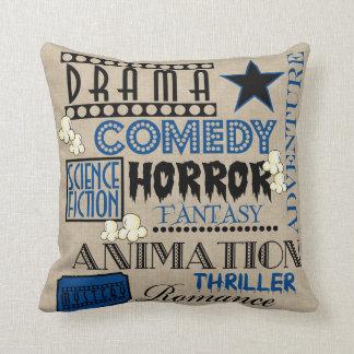 Movie Theater Cinema Genre ticket Pillow-Dark blue Cushion