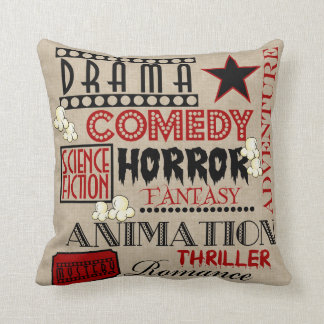 Movie Theater Cinema Genre ticket Pillow-Red Throw Cushion