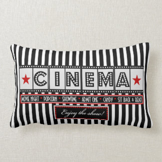 Movie Theater Cinema Stripe Pillow- red accent Lumbar Pillow
