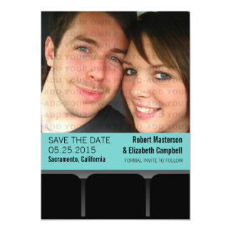 Movie Theater Photo Save the Date Invite, Aqua 13 Cm X 18 Cm Invitation Card