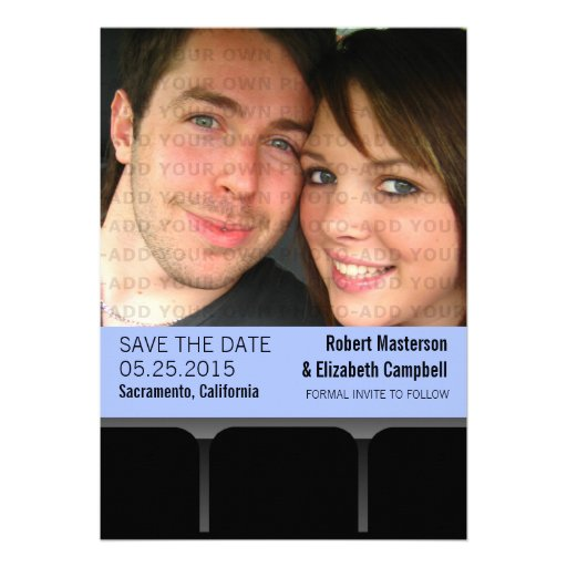 Movie Theater Photo Save the Date Invite, Blue