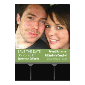 Movie Theater Photo Save the Date Invite, Green 13 Cm X 18 Cm Invitation Card