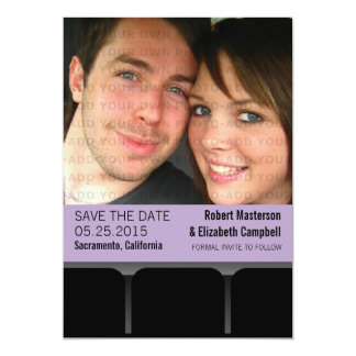Movie Theater Photo Save the Date Invite, Lilac 13 Cm X 18 Cm Invitation Card