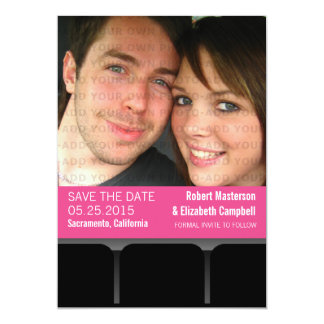Movie Theater Photo Save the Date Invite, Magenta 13 Cm X 18 Cm Invitation Card