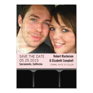 "Movie Theater Photo Save the Date Invite, Pink 5"" X 7"" Invitation Card"