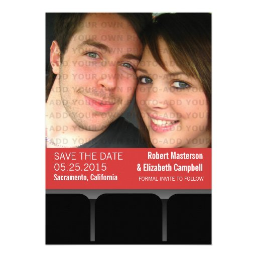 Movie Theater Photo Save the Date Invite, Red