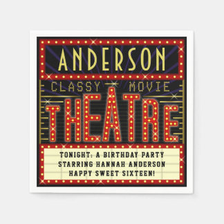 Movie Theatre Marquee Cinema Birthday Party | Name Paper Napkin