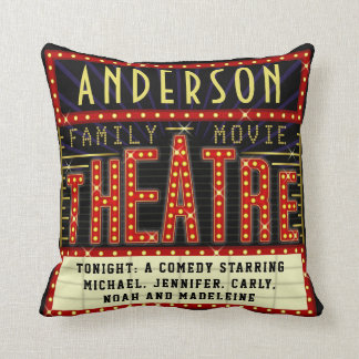 Movie Theatre Marquee Home Cinema | Custom Name Cushion
