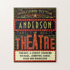 Movie Theatre Marquee Home Cinema | Custom Name Jigsaw Puzzle