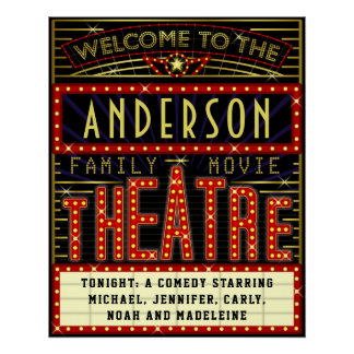 Movie Theatre Marquee Home Cinema | Custom Name Poster