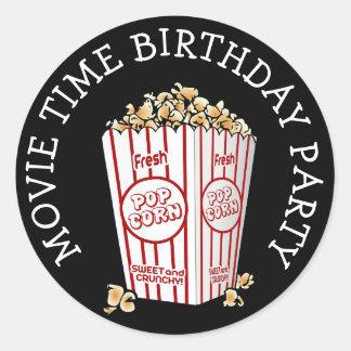 Movie Themed Birthday Party Popcorn Stickers