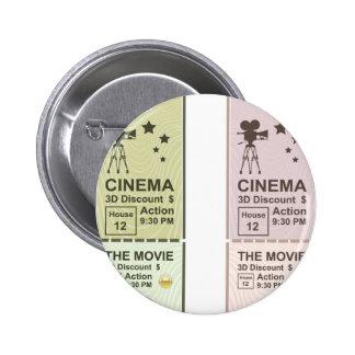 Movie Ticket 6 Cm Round Badge