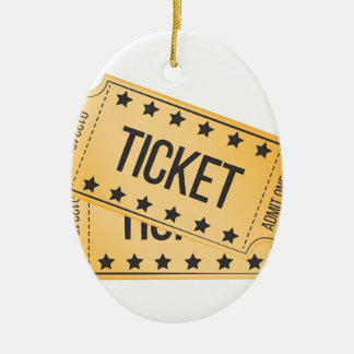 Movie Ticket Ceramic Oval Decoration