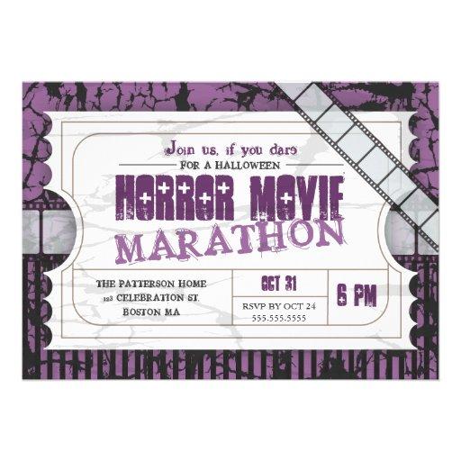 Movie Ticket Halloween Horror Movie Party Custom Invite
