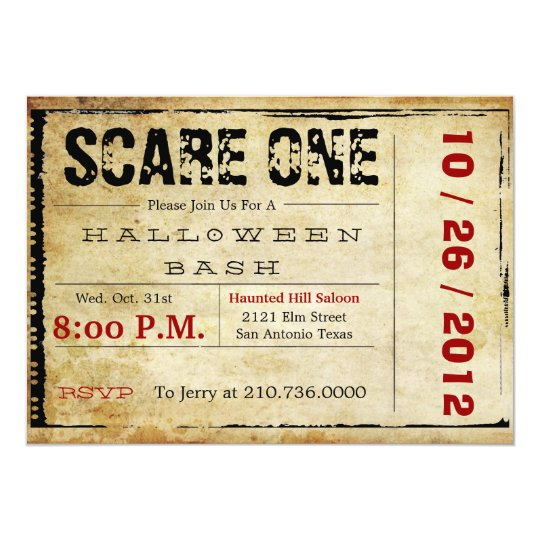 movie ticket halloween invitation zazzlecomau