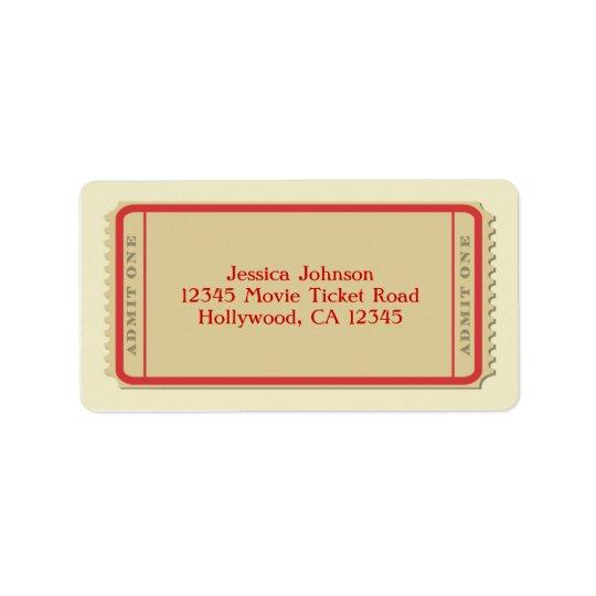 Movie Ticket Mailing Label Address Label