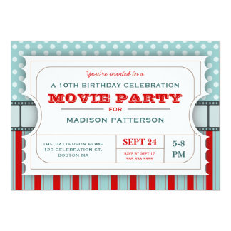Movie Ticket Party Birthday Party Admission Ticket 13 Cm X 18 Cm Invitation Card